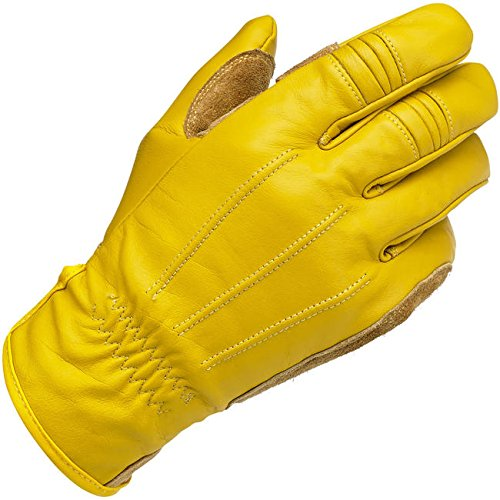 Biltwell, guantes de moto para hombres de piel, color amarillo.