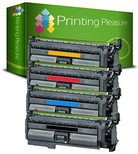 Printing Pleasure 4-Pack Tóner Compatible con HP Laserjet CP4025 CP4025DN CP4025N CP4025XH CP4520 CP4520DN CP4520N CP4520XH CP4525 CP4525DN CP4525N CP4525XH CM4540 CM4540F CM4540MFP