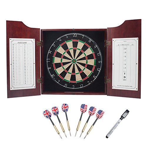 Deluxe Solid Wood Dartboard Cabinet Set with Bristle Dart Board & 6 Steel Tip Darts (Mahogany)