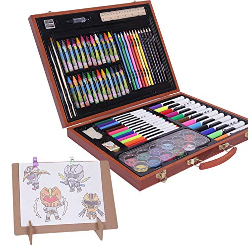 Deluxe Art Set 116 Pieces Children'S Painting Set Art Sets With Easel For Beginners & Pro Artists Including Crayon Set for Children (Color : Wood, Size : 32 X 40 X 6 CM)