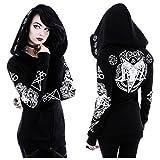 Sweat à capuche Restyle Occulte Ram Crâne Pentacle Nugoth Punk Goth Ritual de Sorcière - Noir (M - FR 38)