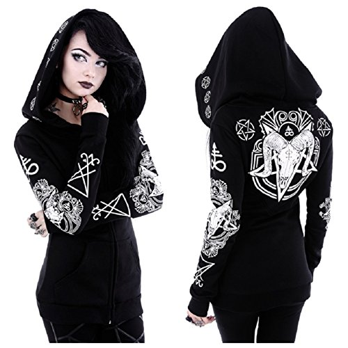Restyle Occult Ram Skull Pentacle Nugoth Punk Goth Ritual Witchcraft Hoodie Top - Black (S - UK 8)