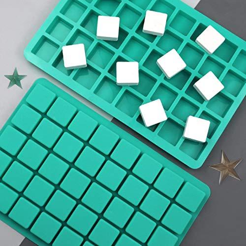 2 Pack 40-Cavity Platz Karamell Candy Silikonformen, Schokolade Trüffel Form, Whiskey Eiswürfel Tablett, Grid Fondant Form, Harte Candy Mold Pralinen Gummy Jelly Mold
