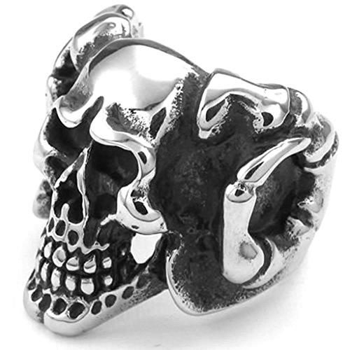 Daesar Acier Inoxydable Bague Homme Gothic Bagues Argent Noir Crâne Anneau pour Homme Anneau Taille:61.5