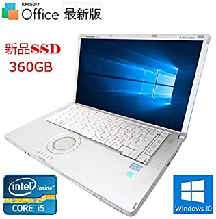 【新品SSD搭載】【Win 10搭載】Panasonic Let`s note CF-B11 ★Core i5-3320M 2.6GHz/8GBメモリ/SSD 360GB/WiFi/DVDマルチ/15.6インチ【最新版Office、新品無線マウ...