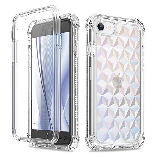 Dexnor Cover Compatibile iPhone SE 2020/7/8, 4.7', Custodia Copertura Completa AntiurtoTrasparente Antiurto a 360 Gradi (Versione 2020) con Protezione per Lo Schermo Integrata - Diamond Clear