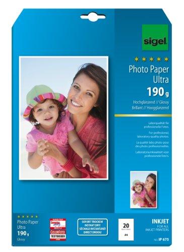 SIGEL IP675 InkJet-Fotopapier Ultra, A4, 20 Blatt, hochglänzend, extrem lichtbeständig, 190 g - auch mit 50 Blatt
