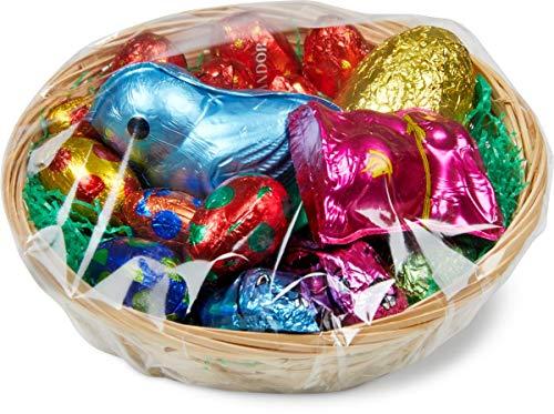 Panier de Pâques Frey avec lapins et œufs en chocolat suisse certifié UTZ - Figurines en chocolat pour Pâques - 225g
