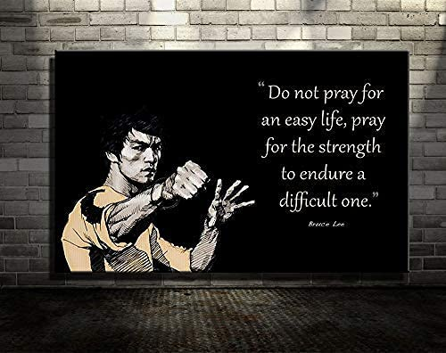 Bruce Lee Canvas Print Prey for The Strength Quote Inspirational Motivational Wall Art Black and White Wall Art Home (24x36inch-Unframed)