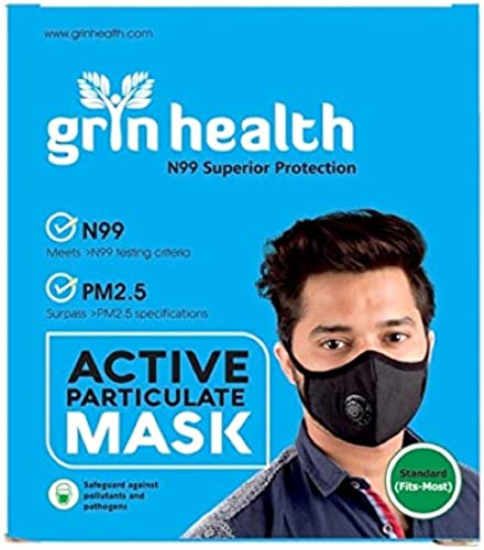Grin Health N99 Anti Pollution Mask Washable Reusable Activated Carbon Filter With Breathing Valve L Black
