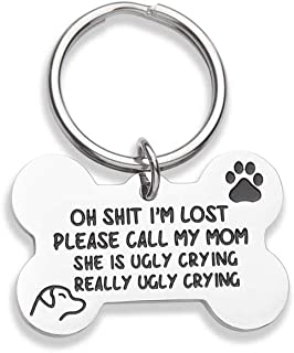 VANLOVEMAC Funny Dog Tag, Bone Engraved Tag, Personalized Puppy Pet ID, Pet Tags for Dogs Cats Kitten, Collar Tag, for Pets New Puppy Stainless Steel