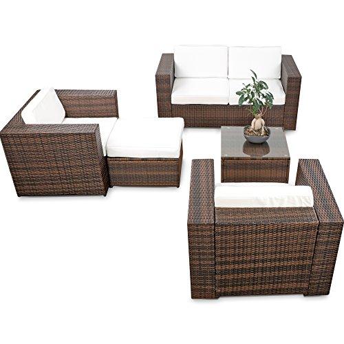 XINRO® XXL Loungemöbel Rattan Set Balkon erweiterbar - Gartenmöbel Lounge Sofa Set XXL - braun-Mix – Garten Lounge Möbel Set -inkl. Loungesofa + Loungesessel + Loungehocker + Loungetisch + Kissen