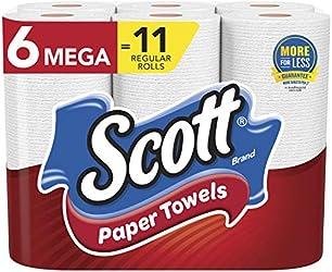Scott Paper Towels, Choose-A-Sheet - 6 Mega Rolls = 11 Regular Rolls (102 Sheets Per Roll)