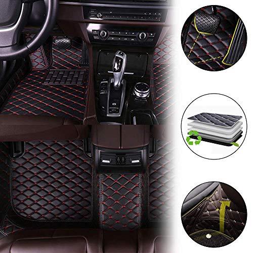 Cobear Fussmatten Auto 3D Autoteppich für 04-13 Mini Hatchback 4-Seat(No armrest Box) Individuelle Passform Kunstleder wasserdichte 3D Voll Auto Matten Schwarz&Rot 1 Set