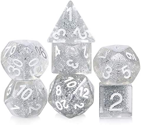 D D Dice Set DNDND 7 PCS Polyhedral Resin Silver Glitter Dice with Organza Bag for DND Dungeons product image