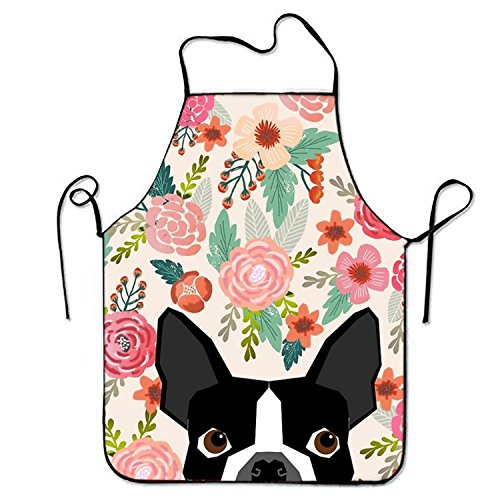 aportt Boston Terrier Dog Florals Apron Funny Black Pitbull Dogs Aprons Pink Flowers Kitchen Apron Premium Polyester Bib Whimsical Dining Room Accessories Colorful Flower Theme Bibs for Party