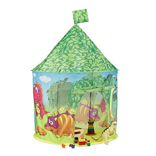 Relaxdays Spielzelt Dinosaurier, Kinderzelt Dino, Spielezelt klein, Drinnen u. Draußen, HxBxT: 150 x 100 x 100 cm, grün
