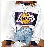 YUEN Sudadera de baloncesto 2020 con estampado de los Lakers Champion casual, suelta de manga larga, para mujer, estilo de abanico de baloncesto F-L