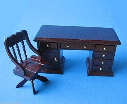 Schreibtisch und Stuhl braun Puppenhaus Möbel Arbeitszimmer Miniatur 1:12