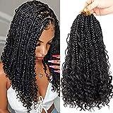 8 Packs Crochet Box Braids Curly Ends 12 Inch Boho Box Braids Crochet Hair Bohemian Bob Box Braid Hair for Black Women 1B#