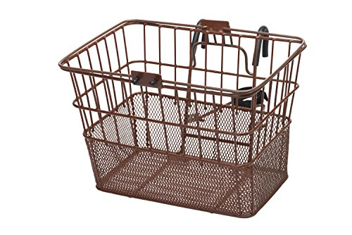 Retrospec Detachable Steel Half-Mesh Apollo Lift-Off Bike Basket with Handles, Brown