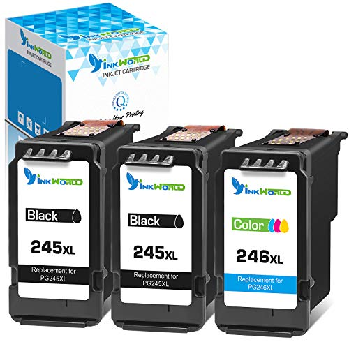 Inkworld Remanufactured 245 246 Ink Cartridge Replacement for Canon PG245XL CL246XL for Pixma iP2820 MG2420 MG2520 MG252 MG2920 MG2922 MG3029 MX490 MX492 TS302 TS3120 TS3122 Printer (2 Black 1 Color)