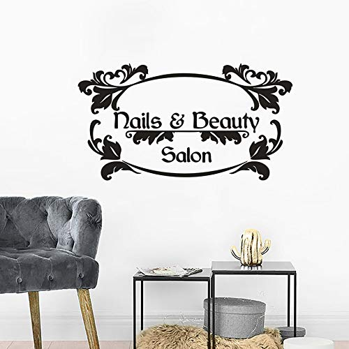 Logo autocollant mural pour les ongles et les salons de beauté manucure art vinyle affiche salon de manucure logo amovible fenêtre décoration décalcomanie murale autre couleur 57x31 cm