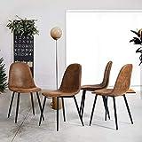 HOMYCASA Juego de 4 sillas de comedor escandinavo estilo retro industrial vintage PU sin brazos tapizados silla de comedor comedor con patas negras de metal