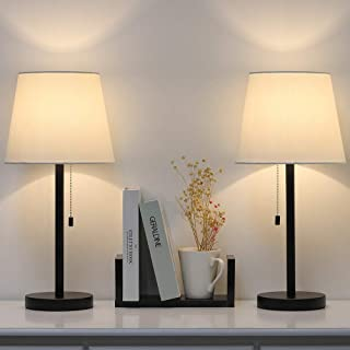 Lerro Table Lamp Set of 2 for Bedroom, Nightstand Desk Lamps, Black Metal Lamps with White Fabric for Bedside, Dressers Coffee Table