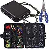 Newk Kit de accesorios de pesca 188 piezas, ganchos de plantilla, pesos de pila, pivotes de pesca, diapositivas de pila, juego de pesca con caja de aparejos portátil