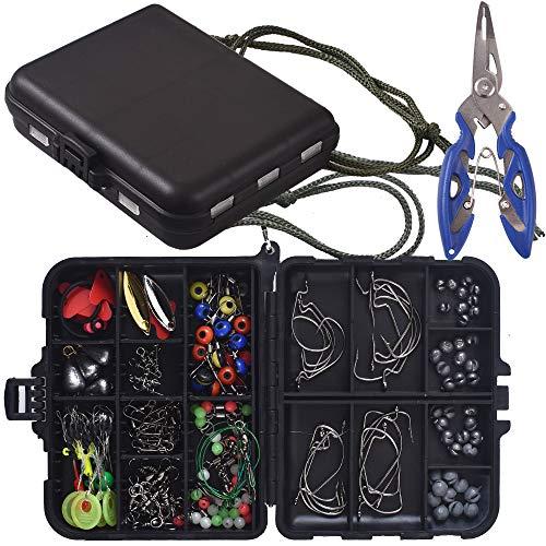 Newk Kit de accesorios de pesca, anzuelos de anzuelo, bala, bala, bala, bala, bala, bala, pivotes giratorios, juego de pesca con caja de aparejos portátil
