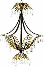 Yosemite Home Decor NPJ808 New Plantation Handmade Three Light Chandelier with Egyptian Crystals in Oxido Finish and Gold Leaves, 21.75