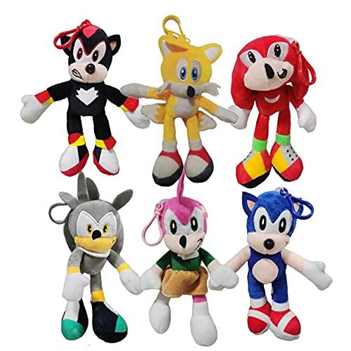 Schallanhänger Ein Satz von 6 neuen Super Sound Maus Sonic Super Sonic 2 Plüschtier Tarsnak Igel Puppe