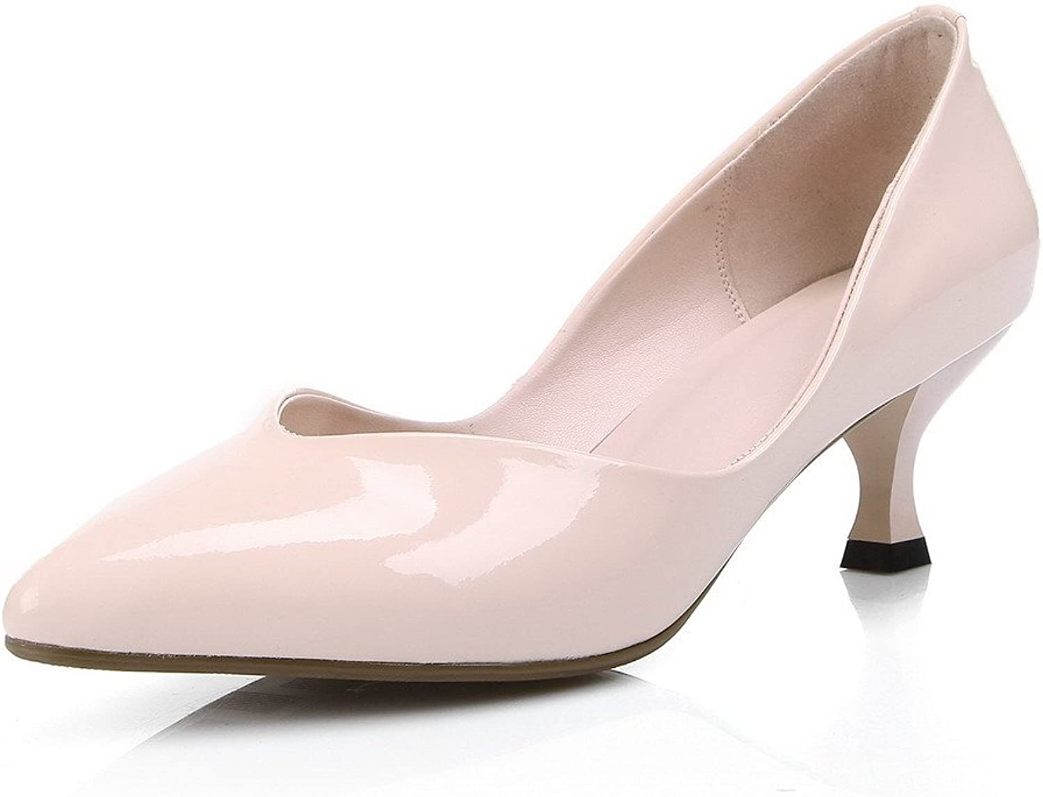 WeenFashion Women's Pull On Closed Pointed Toe Kitten Heels Solid Pumps shoes