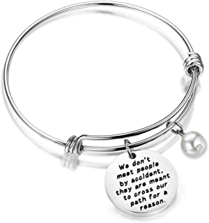 HOLLP Coworker Leaving Gifts Retirement Jewelry We Don't Meet People by Accident They are Meant to Cross Our Path for A Reason Leaving Goodbye Memorial Bracelet Going Away Gifts