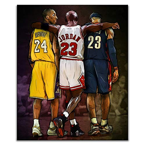 Basketball Star NBA Legends Michael Jordan & Kobe Bryant & Lebron James Inspirational Wall Art Posters Prints Canvas Paintings Memorabilia Gift Home Decorations, Unframed (30x40 cm/12x16 inch)