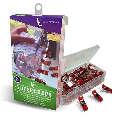 Quilting Clips (50 Pack) - Perfect for Patchwork, Appliqué & Craft with Strong Spring - by KC Super Clips