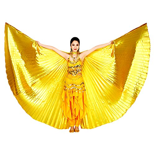 Isis Flügel Isis Wings,Ägypten Eröffnung Bauchtanz Isis Wings mit Teleskopstangen Frauen Professionelle Bauchtanz Kostüm Winkel Isis Wings Karneval Kostüme Frauen (Gold)