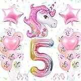 TOLOYE Unicornio Decoración de Cumpleaños 5 Años, Globo de Unicornio 3D con Pancarta de Cumpleaños Numero 5 Cumpleaños Globos Latex Globos para Decoracion de Fiesta de Cumpleaños Niña