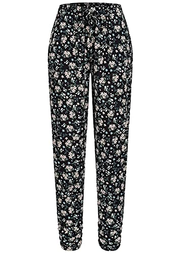 Hailys Damen Viskose Stoffhose Gummibund Blumen Muster schwarz Weiss