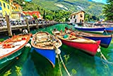 Jigsaw Puzzles 1000 Pieces for Adults and Kids - Italy's Lake Garda Wooden Boat Puzzles with Colorful Poster - Precise Non-Slip Interlocking