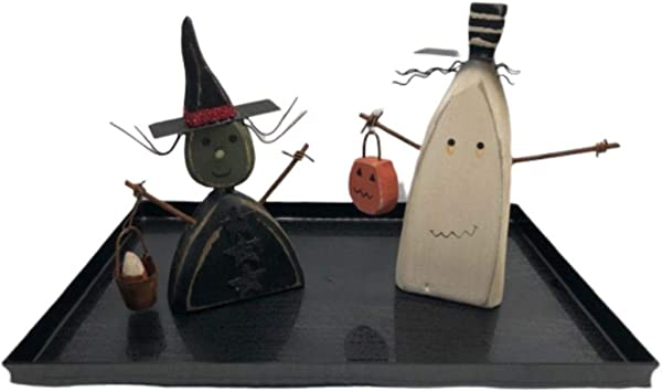 ElevenPlus2 Vintage Style Primitive Chunky Halloween Witch And Ghost Figurines And A Wood Look Tray