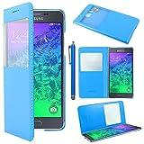ebestStar - Funda Compatible con Samsung Galaxy Alpha SM-G850F Carcasa Ventana Vista Cover Cuero PU, Funda Libro Billetera + Lápiz, Azul [Aparato: 132.4 x 65.5 x 6.7mm, 4.7'']