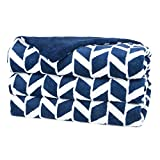 Heated Microplush Throw Blue White Pattern 3 Heat Settings & 3 Hour Auto-Off 50x60 inches (Blue & White)
