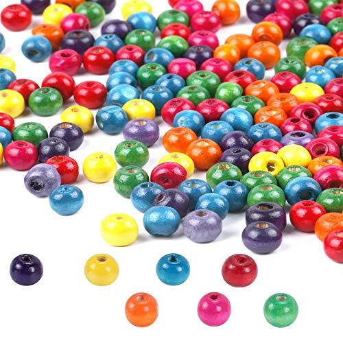 FOGAWA Bunte Holzperlen 400 Stück Holzkugeln Runde Bastelnperlen Holz Perlen zum basteln mit Loch 3.5mm Holzperlen zum Auffädeln Holzperlen zur Herstellung für Schmuck Arts Crafts Halskette Armreif