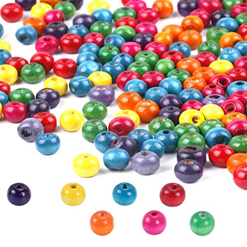 FOGAWA Bunte Holzperlen 400 Stück Holzkugeln Pastell Runde Bastelnperlen Holz Perlen mit Loch 5mm zum Auffädeln für DIY Schmuck Arts Crafts Halskette Armreif Handwerk