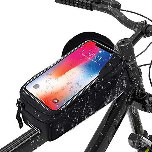 BAONUOR Fahrrad Rahmentasche Fahrrad Handytasche für iPhone 7 Plus/6s Plus/6 Plus/Samsung s7 Edge andere bis zu 6 Zoll Smartphones, Wasserabweisende Fahrrad Lenkertasche