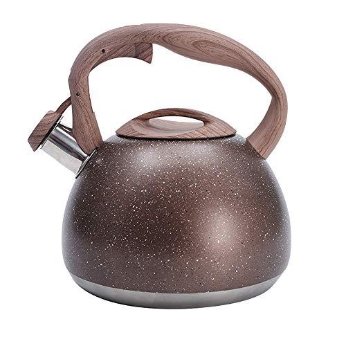ZNN 3L Anti, Escaldar Utensilios de Cocina Café, Tetera Hervidor de Agua automático de Acero Inoxidable para Estufa de Gas con Mango de Madera Gran Capacidad Adecuado para Todas Las Fuentes de Calor