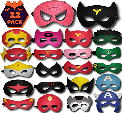 TONSY Superhero Masks Party Favors for Kids Birthday, Avengers Party Supplies (22 PCS) - Adjustable Sizes, Felt Masks