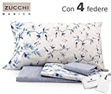 Zucchi Completo Letto Matrimoniale Basics Art. Lea VAR. B1 Blu - con Quattro federe + tavoletta Profumo Biancheria per armadi